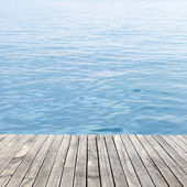 Wooden floor and sea — Stock Photo