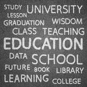 Education concept on blackboard for background — Foto Stock