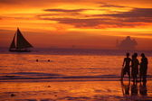 Sunset on Boracay beach, Philippines — Stock Photo