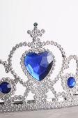 Tiara with diamonds and blue gem — Stock Photo
