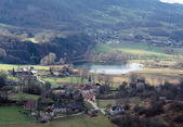 Overview of Chevelu lake and village, Savoy, France — Stock Photo