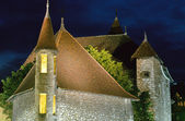 Annecy medieval town : Roofs of Old prison by night, France — Stock Photo