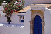 White and blue house in Greece, Europe — Stock Photo