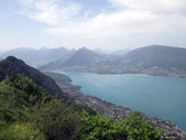 Overview of Annecy lake in France — Stockfoto