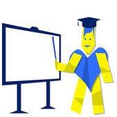 Teacher and white board — Stock Photo