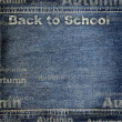 Denim texture with Back to School background — Stock Photo