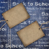 Denim texture with cardboard label and Back to School Background — Stock Photo