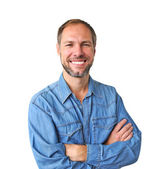 Smiling man in denim shirt isolated on the white background — Stock Photo