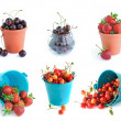 The bucket of cherries and strawberries set isolated on the whit — Stock Photo
