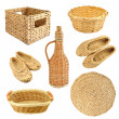 Set of wicker object isolated on white background — Stock Photo