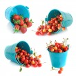 The bucket of cherries and strawberries set isolated on the whit — Stock Photo #12726933