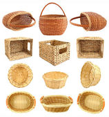 Set of wicker basket isolated on white background — Stock Photo