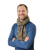 Romantic man in scarf isolated on the white background — Stock Photo