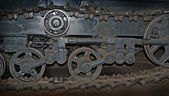 Close up old caterpillar track — Stock Photo