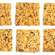 Set of cookies with flax seeds sesame sunflower isolated on whit - Stock Photo