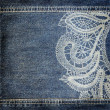 Stock Photo: Background denim texture with lace pattern