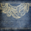 Background denim texture with lace pattern — Stock Photo #22189635