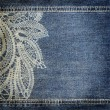 Background denim texture with lace pattern — Stock Photo