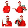 Set of smiling christmas man wearing a santa hat isolated on the white background — Stock Photo #36579501