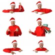 Set of smiling christmas man wearing a santa hat isolated on the white background — Stock Photo #36579749