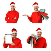 Set of smiling christmas man wearing a santa hat isolated on the white background — Stock Photo