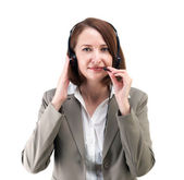 Pretty business woman in gray suit with earphones isolated on wh — Stock Photo