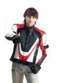 Handsome man in biker jacket and gloves isolated on white backgr — Foto Stock