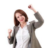 Winner business woman with her hands raised — Stock Photo