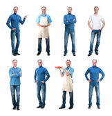Collection man photos isolated on white background — Stockfoto