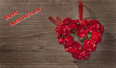 Valentine day background with heart and roses — Stock Photo