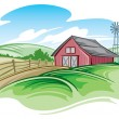 Farm landscape — Vector de stock #20593321