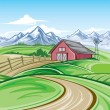 Farm landscape — Vector de stock #20877451
