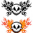 Skull with flames — Stock Vector