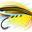 Fly fishing lure — Stock Vector