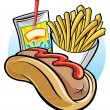 Hot dog and french fries — Stock Vector
