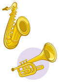 Saxaphone and trumpet — Stock Vector