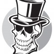 Stock Vector: Skull with top hat