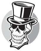 Skull with top hat — Stock Vector