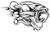 Snowboarder skull — Stock Vector
