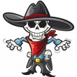 Stock Vector: Skeleton cowboy