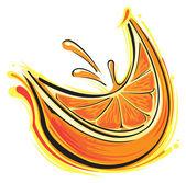 Rodaja de naranja — Vector de stock