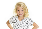 Cute little girl with a sassy and fun expression — Stock Photo