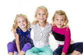 Three Smiling Little Girls Portrait — Stock Photo