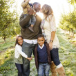 Beautiful Multi Ethnic Family Portrait Outdoors — Stock Photo