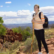 Female Hiker in the Desert Mountains — Stock Photo