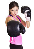 Beautiful woman ready to box — Foto de Stock