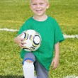 Cute little Soccer player portrait (boy) — Stock Photo