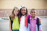 Diverse Children Going to Elementary school — Stock Photo
