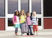 Portrait of Young Kids first day of School — Stock Photo