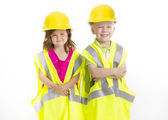 Cute Kids dressed as Young Engineers — Stock Photo